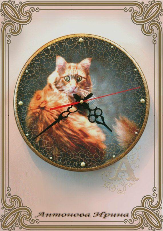 Картинки декупаж часы коты