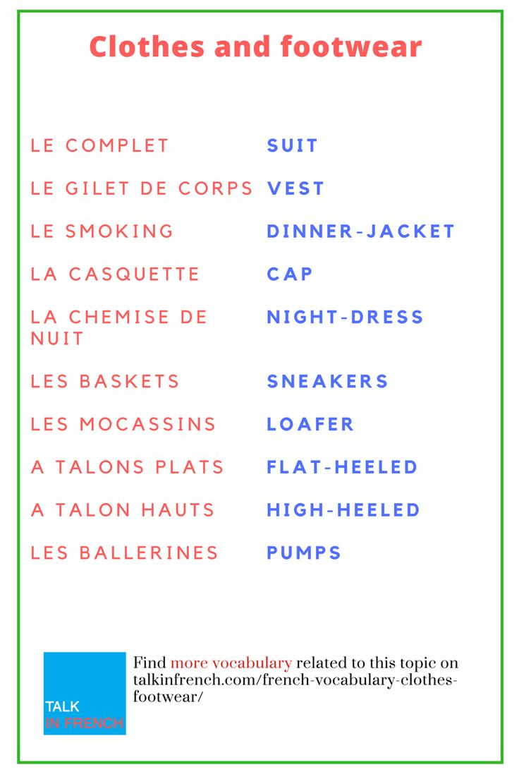 French Vocabulary Clothes And Footwear