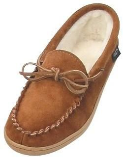 Men's and Ladies Cowhide driving moccasin, sheepskin lined with a rubber sole