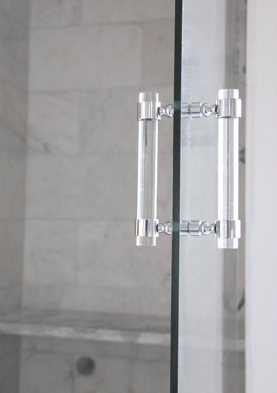 Lucite Shower Door Pull Handles (PAIR) - Brass, Satin Brass, Polished Nickel, Chrome