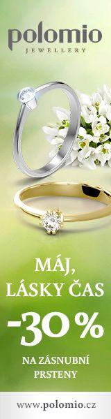 Máj lásky čas. Sleva 30% na zásnubní prsteny a prstnýnky od značky Polomio. Zásnubní prsten je možné obědnat v červené, růžové, bílé a žluté barvě zlata. Zásnubní prsteny jsou osazeny zirkony, brilianty, nebo moisanity.