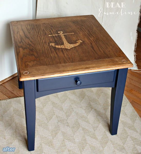 Delightful Stained Anchor Table: Contact Paper Stencil Combined With Stain
