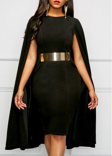 Black Round Neck Cape Sheath Dress | Rosewe.com - USD $35.78