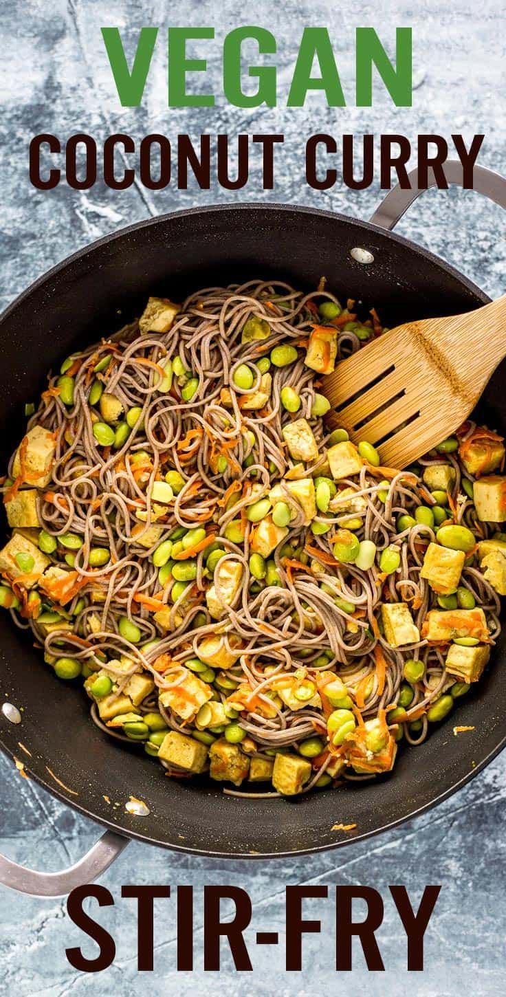 Quick and easy Vegan Coconut Curry Tofu Stir-Fry is a dairy-free, gluten-free, lighten-up stir-fry. It's full of protein, vegetables and healthy fats, creating a complete, wholesome meal. Includes saba noodles, coconut milk, cashew milk, edamame beans, carrots and cashews. - platingpixels.com