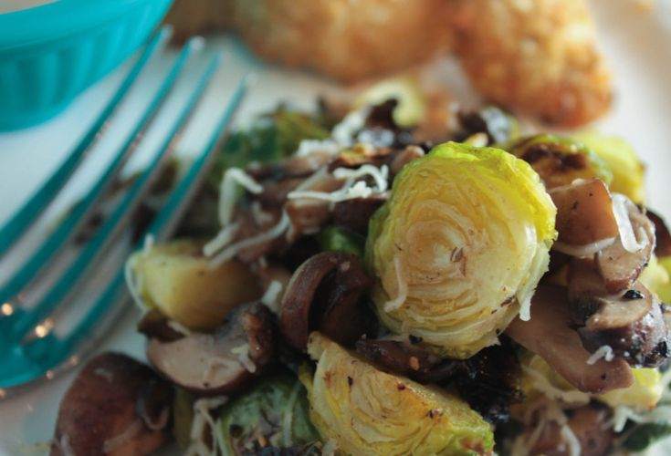Roasted Brussels Sprouts with Mushrooms and Shallots   – Veggies
