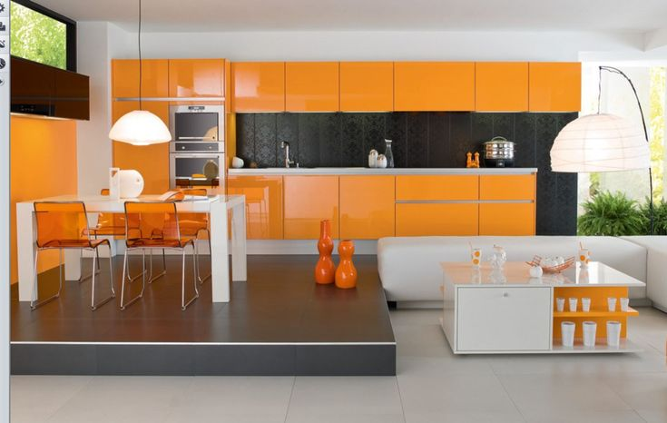 Decoration Ideas. Examplary Orange Kitchen Furniture And Interior Fixtures: Outstanding Acrylic Gloss Orange Kitchen With Modern White Dining Set And Contemporary Living Room Set In Small Apartment With Open Floors Interior Layout