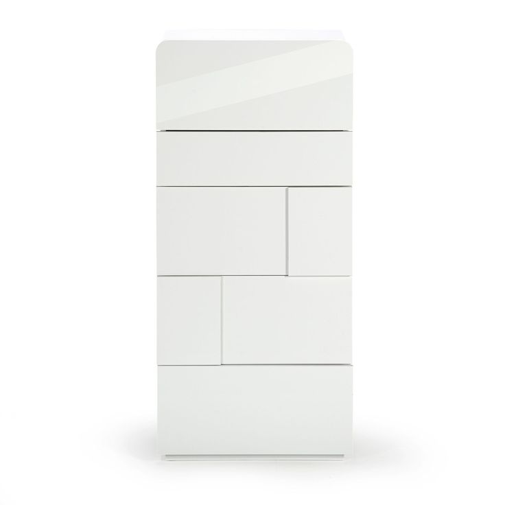 commode 5 tiroirs blanc laque