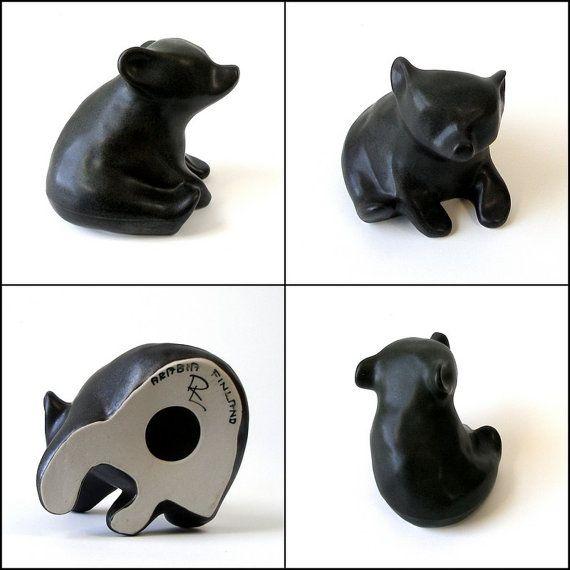 ARABIA Finland Richard Lindh Black Bear Cub Figural by FultonLane
