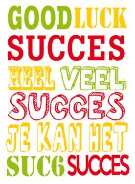 good luck, succes, heel veel succes, je kan het- Greetz