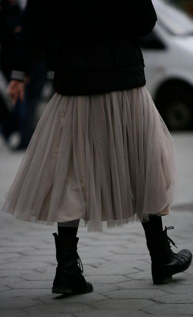Grey tulle skirt, black sweater & black boots = fabulous!