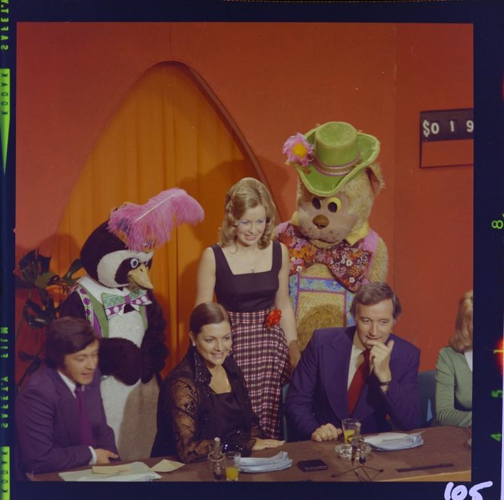 327342PD: Percy Penguin and Fat Cat with Sandy Baker. Seated L-R: Jeff Newman, Maggie Tabberer, Stuart Wagstaff at the 1973 Telethon at the studios of TVW7, Tuart Hill (Click to Start Zoom)