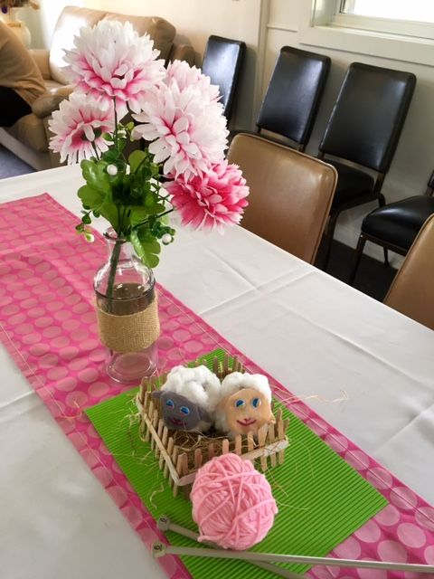 Lamb themed birthday party for a 1 year old. Table decorations.
