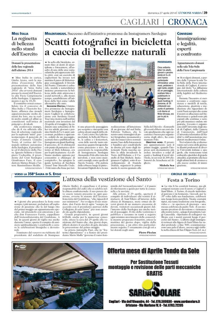 Unione sarda del 27 aprile sulle #Invasionidigitali in bicicletta a #Cagliari #invasionibikeCA #sardiniagrandtour #italy #sardinia #sardegna #cycling
