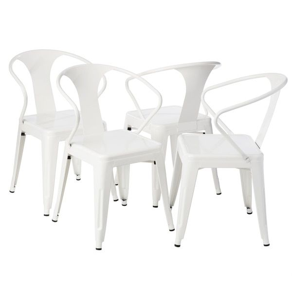 White Tabouret Stacking Chairs - we have these; they are comfy and CHEAP ($155 for 4)
