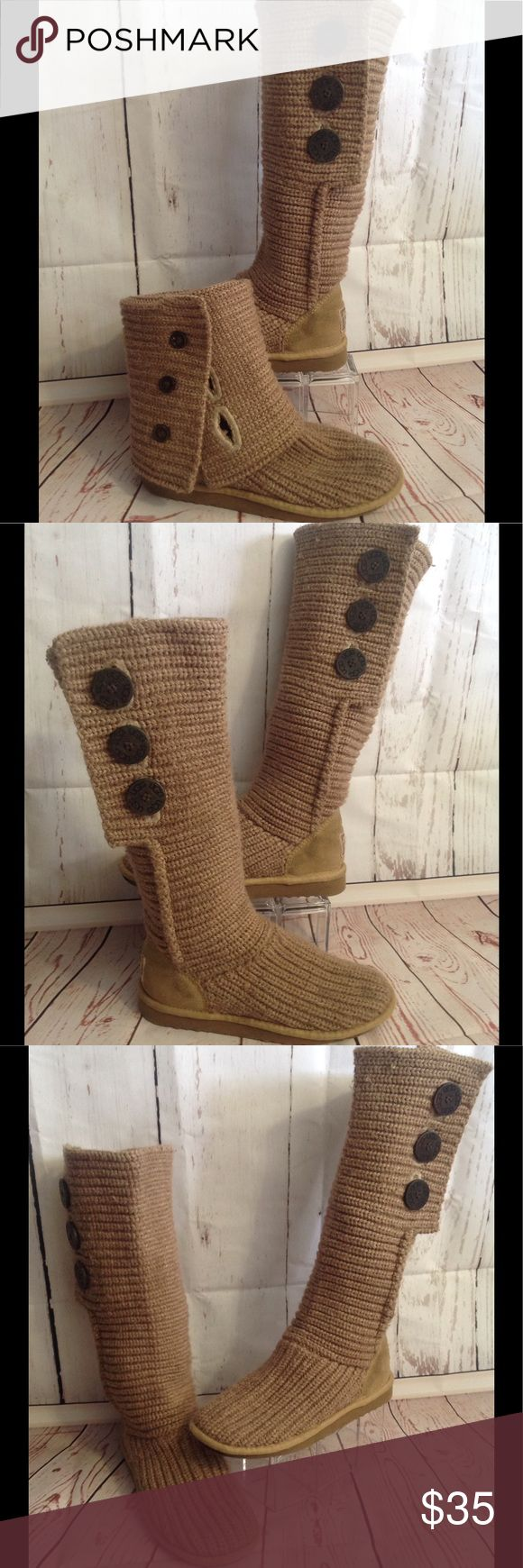 Ugg Classic Cardy Boots Ugg classic cardy boots. Tan/light brown sweater boot with brown accent buttons. Folds down to ankle boot. The perfect 2 in 1 boot! UGG Shoes Ankle Boots & Booties