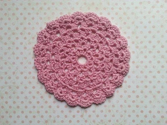 Hand crocheted cotton doily in pink cotton by maxollieandme