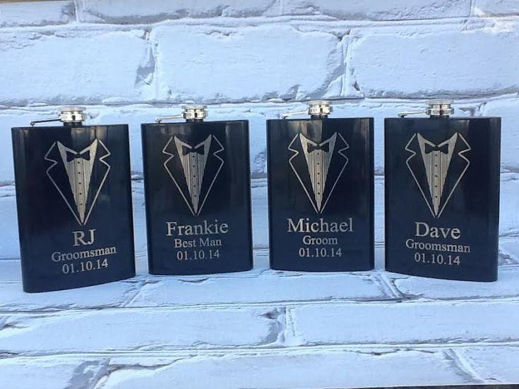Set of 4 Personalized Groomsmen Gift | Engraved Flasks | Black Engraved Flasks | 8 oz. Hip Flask