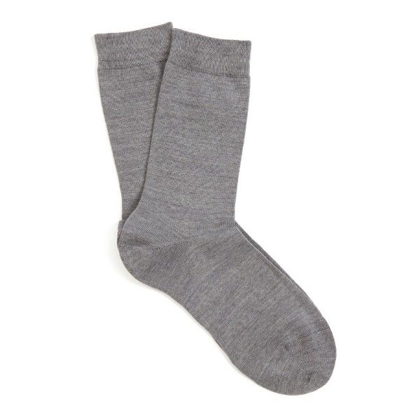 Falke Soft wool and cotton-blend socks ($15) ❤ liked on Polyvore featuring intimates, hosiery, socks, accessories, clothing - socks, grey, falke hosiery, woollen socks, cotton blend socks and falke socks