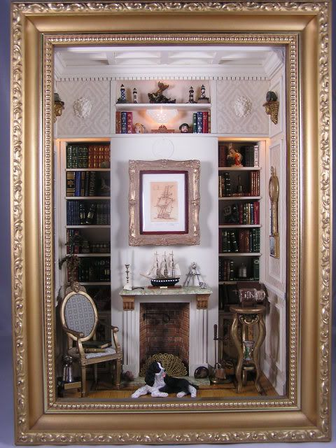 The Captain's Library, club project Miniatures West. You can do wonderful things with a shadow box!!!