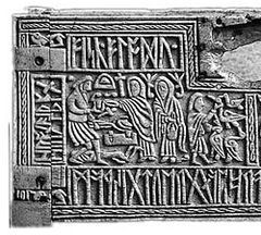 The right half of the front panel of the seventh century Franks Casket, depicting the pan-Germanic legend of Weyland Smith also Weyland The Smith, which was apparently also a part of Anglo-Saxon pagan mythology.