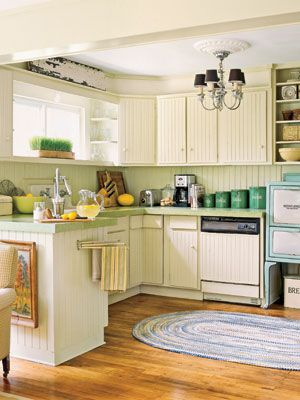 Buttermilk White And Barn Red Two Tone Kitchen Cabinets
