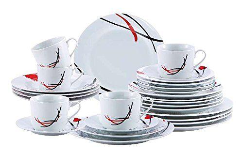 Porzellan-Geschirr-Set 30-teilig für 6 Personen (Service mit rot-schwarzem Dekor, Tafelservice, Kaffeeservice, Teller und Tassen)