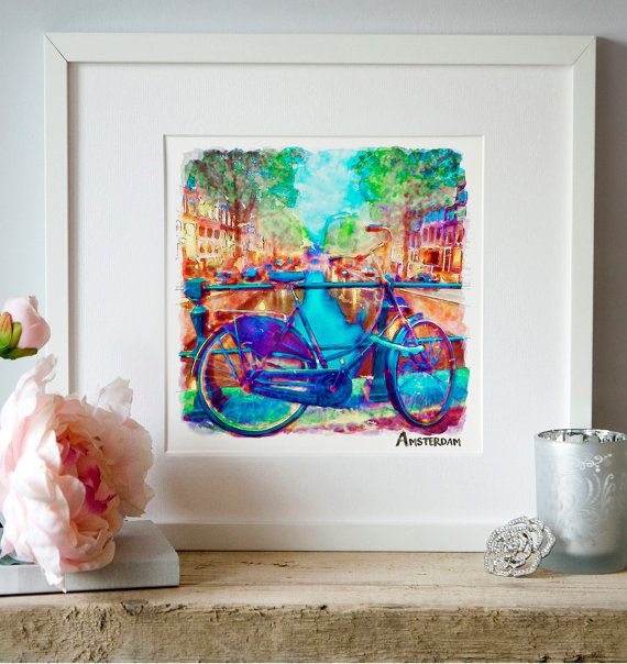 Amsterdam Bike Watercolor painting Wall art by Artsyndrome on Etsy