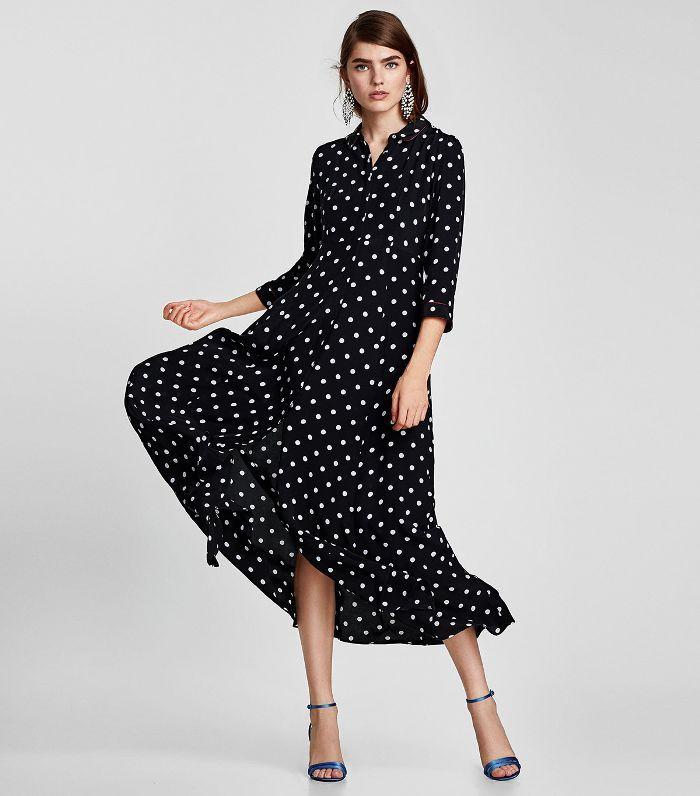 Zara Long Polka Dot Dress Polka Dot Dress Dot Dress Black Polka Dot Dress
