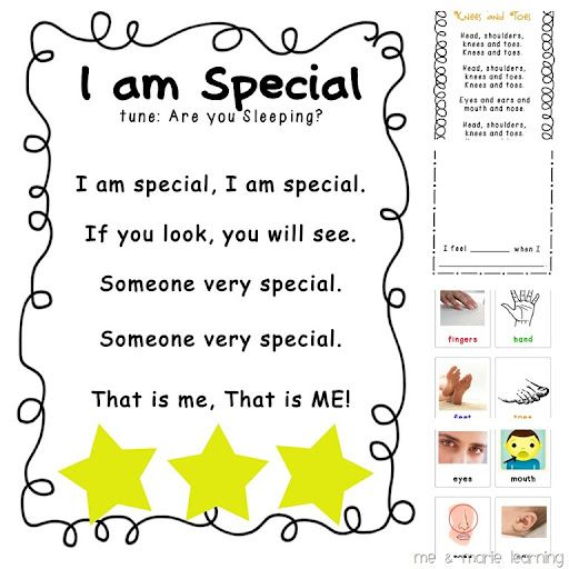 i am special poem for all about me theme Write on chart and highlight sight words I and am.