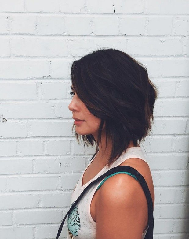 textured graduated bob hairstyle for shoulder length hair  Could be cute????