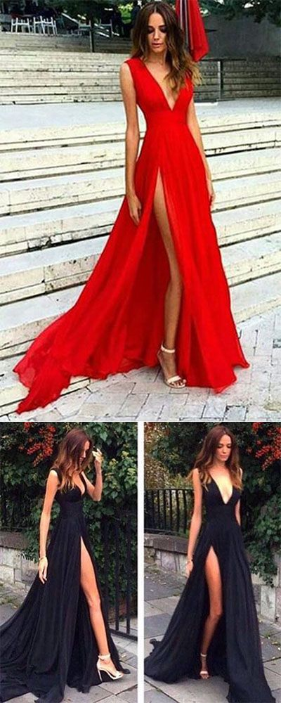 Elegant A Line Split Deep V Neck Red Evening Dress,Sexy Party Dresses With V Back,Sleeveless Chiffon Prom Dresses,Prom Dresses DC87