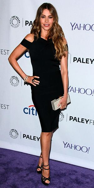 Sofie Vergara at the  32nd annual PALEYFEST LA (March 15, 2015), wearing a Roland Mouret Swangrove Harness-Strap Knit Sheath Dress, an  Amanda Wakeley clutch and Charlotte Olympia Octavia suede and mesh platform sandals. #sofiavergara #style