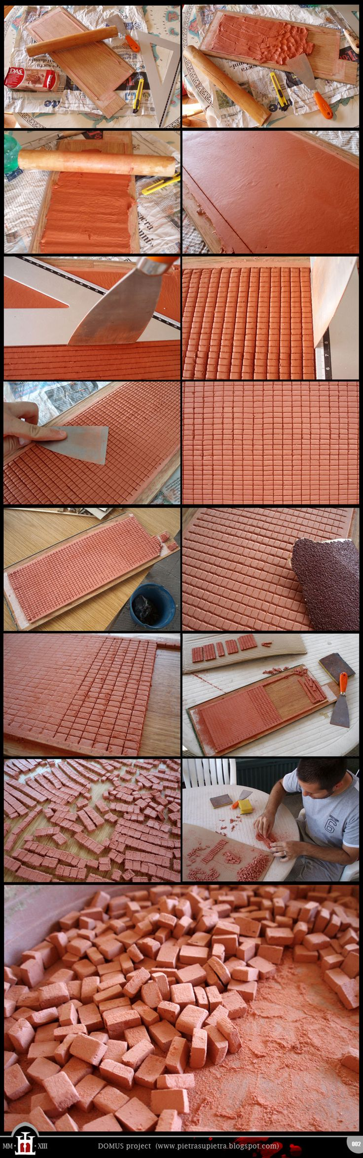 Make miniature bricks out of DAS clay ... OR... use Acrylic Sealant/Fix...