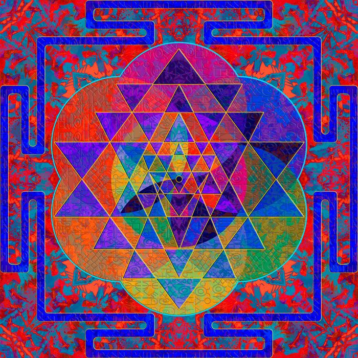 """Divine 'Shri Yantra,' 50 cm x 50 cm,  """"I manifest, obtain and fulfill all my worldly desires.""""  Look at the center of the mandala for a few minutes every day while repeating this affirmation, to obtain and fulfill all your worldly desires and for material manifestation.  LIMITED Edition Giclee Prints on paper. Edition of 18.  http://julianventer.com/shri-yantra.html"""