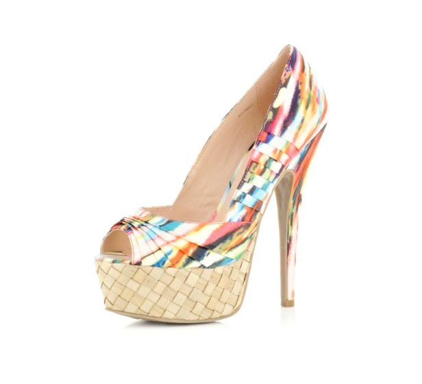 Oh hell yes!  multi coloured print espadrille court shoes