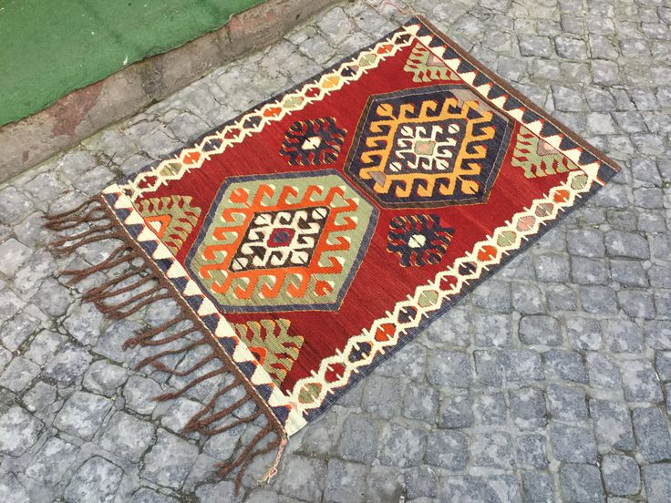 2'9 x 4 feet, Turkish kilim rug,turkish kilim rug,Turkish Anatolian Kilim,ethnic kilim, Handmade kilim Rug,decorative rug, 120x0.87cm, k-863 by EclecticRug on Etsy