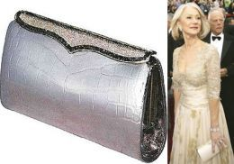 Lana Marks Cleopatra Clutch , for $250 000 , 4th most expensive bag , made of metallic silver with white diamond in 18-carat white gold ! Helen Mirren wore it at the 2007 academy awards !