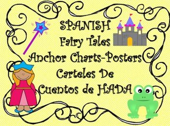 """SPANISH """"Cuento de Hadas"""" Fairy Tales-Anchor Chart/Posters that have helped my ELL's understand how fairy tales elements play a big role in the fantasy genre.  These posters have been used as an introduction for teaching fairy tales.  They contain and explain the elements that are in a fairy tale story for example the setting, characters and also the lesson learned."""