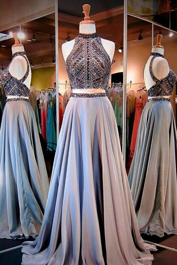 prom dresses,2017 prom dresses,grey prom dresses,2 pieces prom dresses,elegant party dresses,vestidos