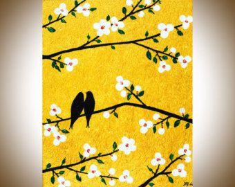 Large art 72 original Romantic love birds art home by QiQiGallery