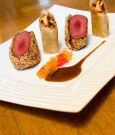 Recette Filet de chevreuil pané aux sésames, nem de girolles, moutarde de fruits chef video