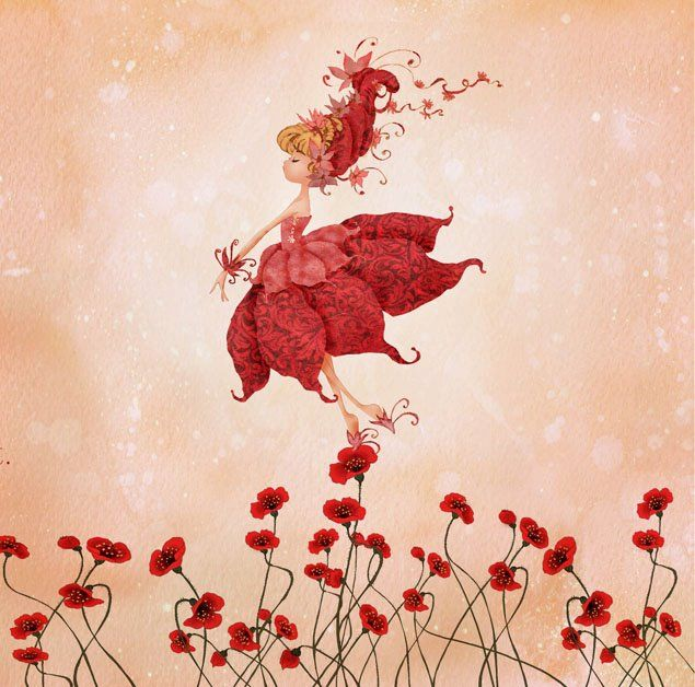 Red dances on blossoms sweet poppy fairy