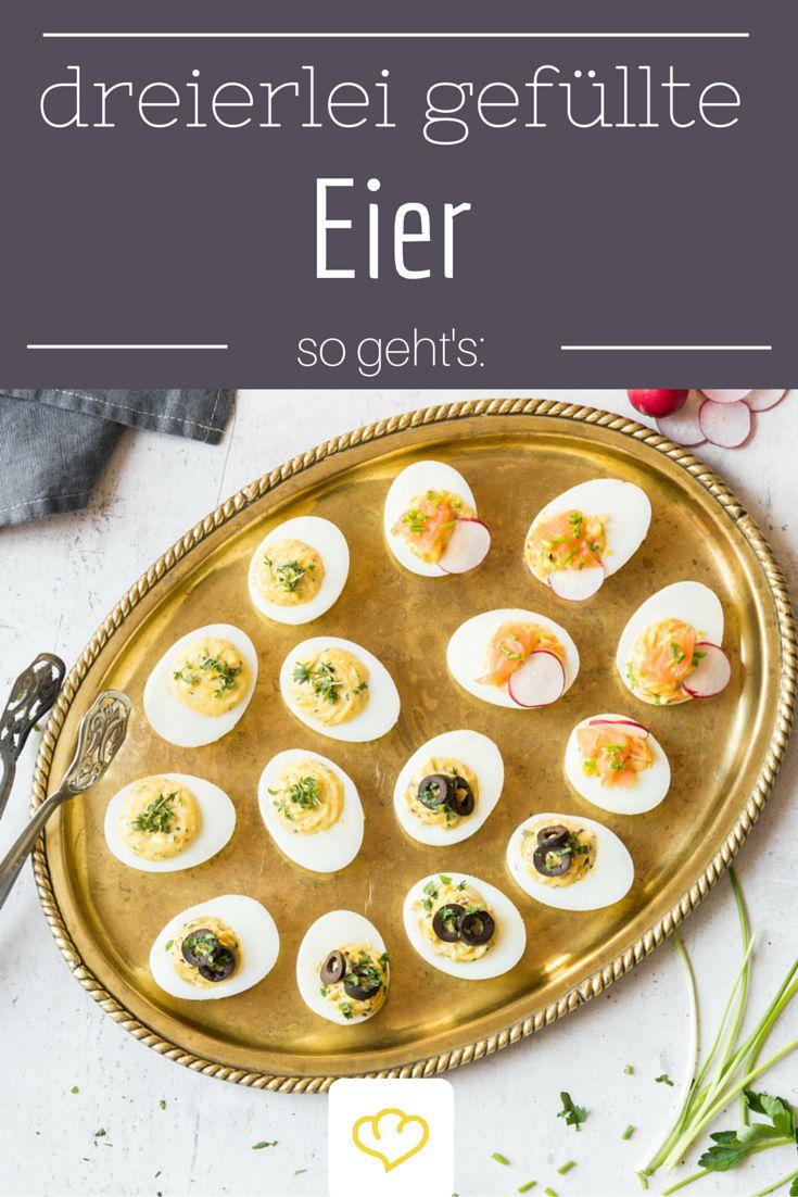 Eins für dich, zwei für mich! Dreierlei gefüllte Eier Von Wegen verstaubter Party-Snack! Kresse, Oliven, Knoblauch, Lachs und Radieschen verhelfen dem Klassiker zu einem gelungenen Auftritt auf deinem Brunchbuffet. Und damit deine Eier perfekt werden, gibt dir Redakteurin Tanja ein paar kleine Tricks für das Eierkochen. Aber damit es nicht nur bei einem Eierfrühstück bleibt, machen diese Frühstücksideen deinen Brunch perfekt.