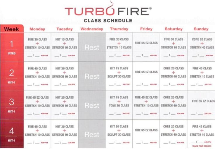 turbo fire weeks 1, 2, 3, 4