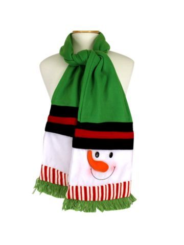 $16.50 Snowman Green Fleece Scarf