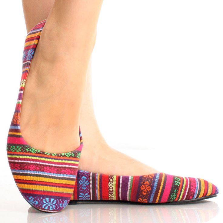 Vermelho-de lona listrado multicolorido tribais mulheres étnicas Sapatos sapatilhas