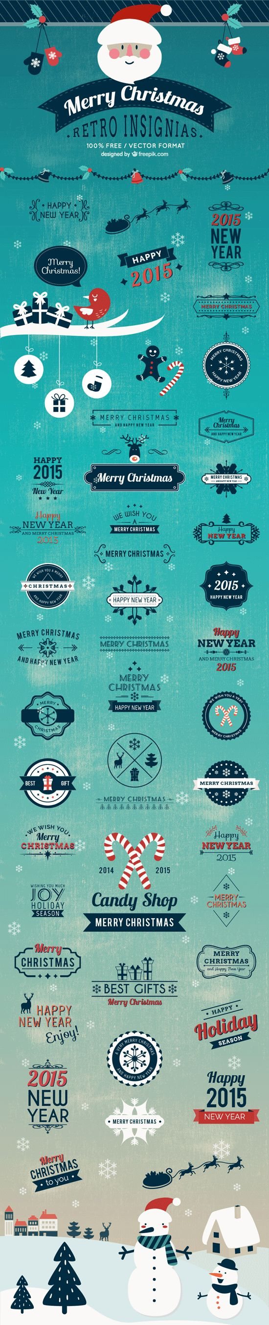 This pack includes over 40 free vector Christmas badges you can use in your winter season designs, like : reindeers, snowmans, candy canes, pine trees and more.