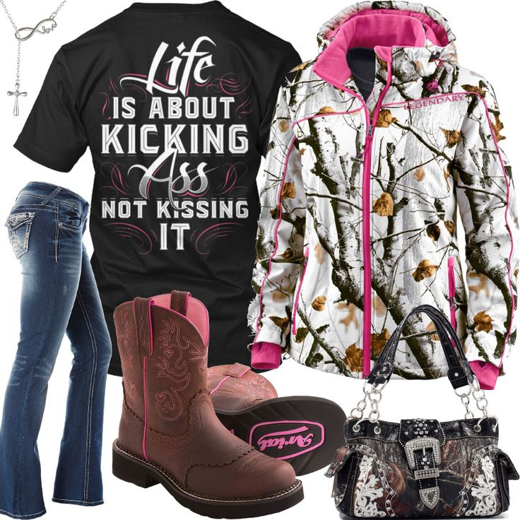 Life Is About Kicking Snowdrift Camo Jacket Outfit - Real Country Ladies