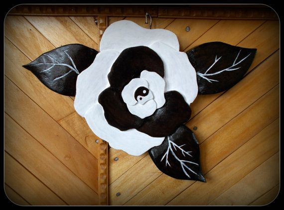 Buy Yin-Yang Wall or Table Flower Decoration - Hand carved and painted by handcarvedbynature. Explore more products on http://handcarvedbynature.etsy.com