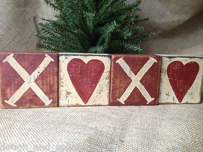 Set of 4 Primitive Valentine Shelf Sitter Wood Blocks Heart XOXO